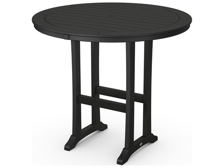 POLYWOOD® Nautical Trestle Recycled Plastic 48''Wide Round Bar Table