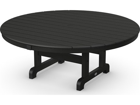 POLYWOOD® Traditional Recycled Plastic 48 Round Chat Table with Umbrella Hole PWRCT248