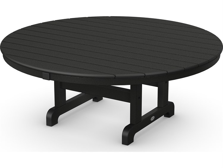 POLYWOOD® Traditional Recycled Plastic 48''Wide Round Chat Table with Umbrella Hole PatioLiving