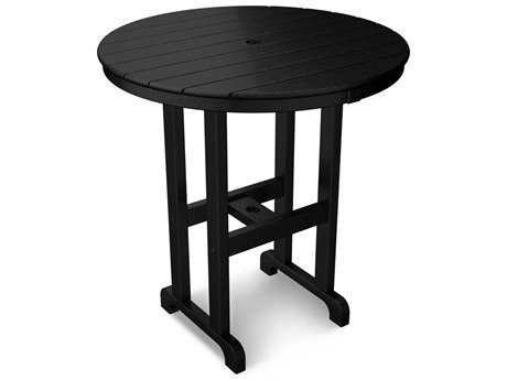 POLYWOOD® Traditional Recycled Plastic 36 Round Counter Table with Umbrella Hole