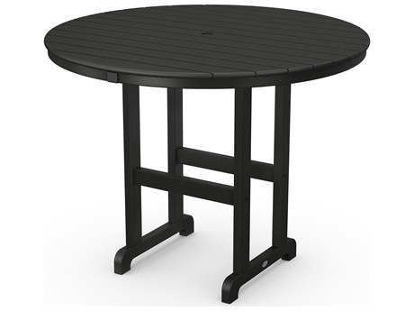 POLYWOOD® Traditional Tables Recycled Plastic 48''Wide Round Counter Table with Umbrella Hole
