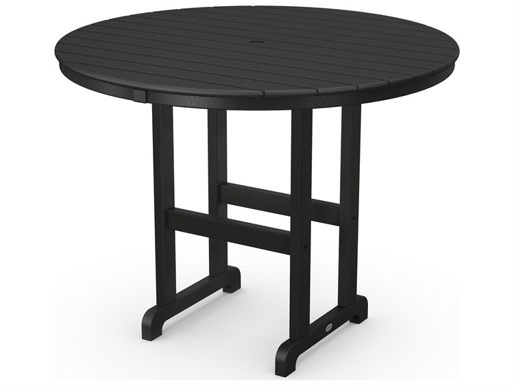 POLYWOOD® Traditional Tables Recycled Plastic 48''Wide Round Counter Table with Umbrella Hole  PatioLiving