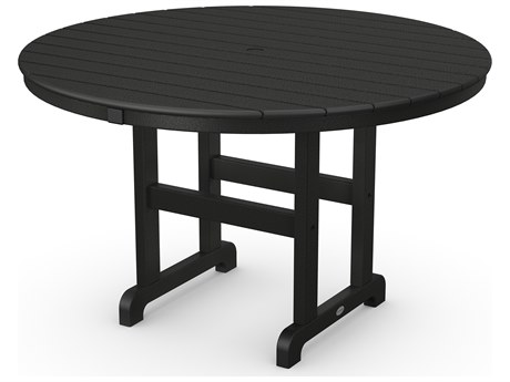 POLYWOOD® La Casa Cafe Recycled Plastic 48 Round Dining Table with Umbrella Hole PatioLiving