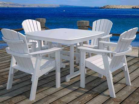 POLYWOOD® Seashell Recycled Plastic Adirondack Dining Set