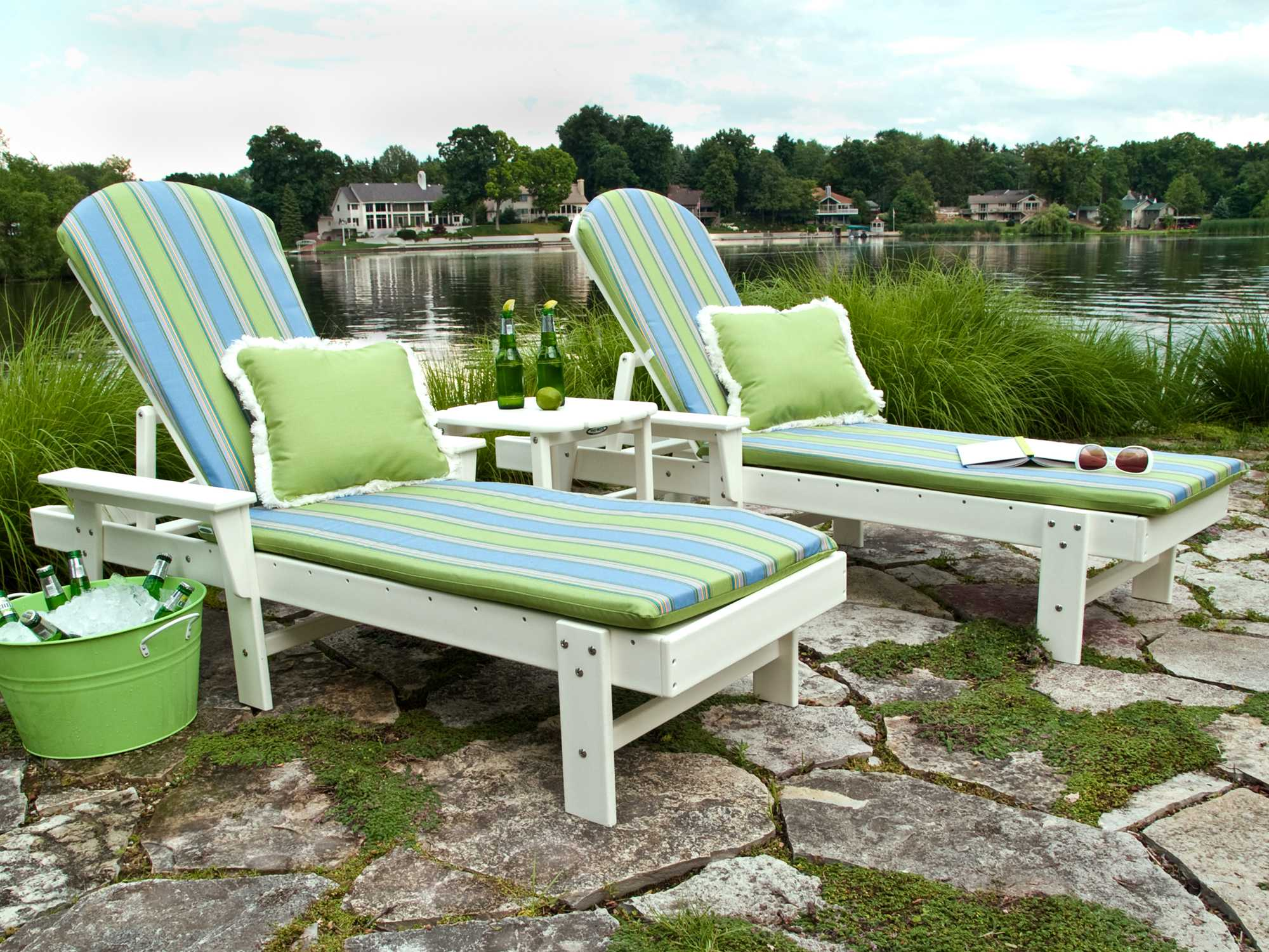 Polywood south beach chaise lounge set southls for Breezy beach chaise
