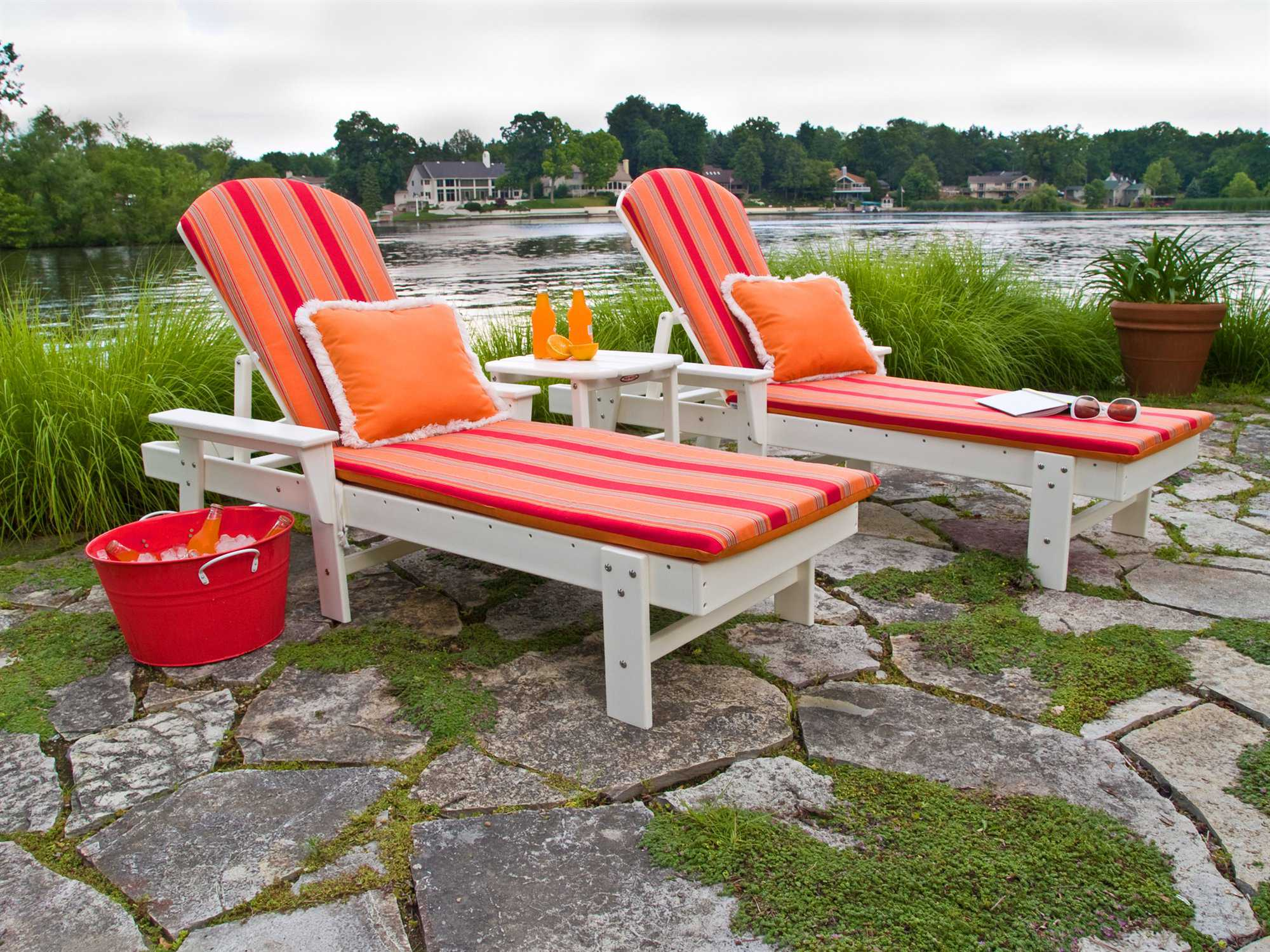 Polywood south beach recycled plastic chaise lounge pwsbc76 - Chaise adirondack plastique recycle costco ...