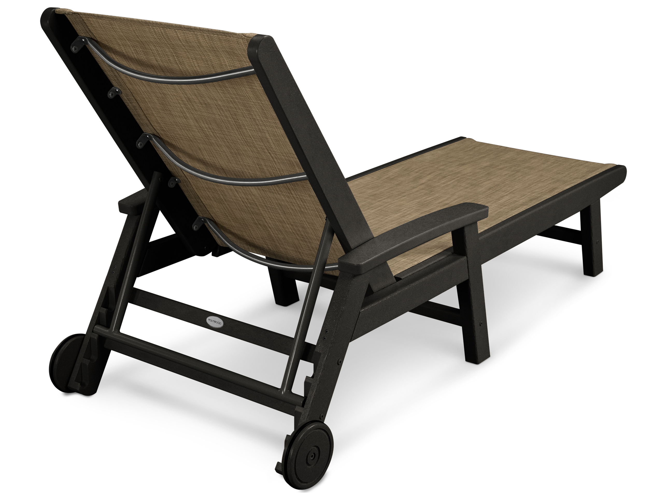 Polywood 174 Coastal Sling Aluminum Chaise Lounge With Wheels
