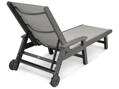 POLYWOOD® Coastal Sling Aluminum Chaise Lounge with Wheels