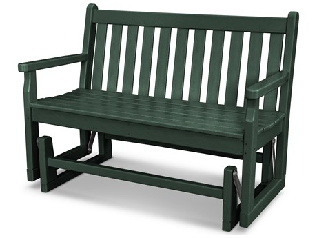 POLYWOOD® Traditional Garden Recycled Plastic Glider Bench - Green