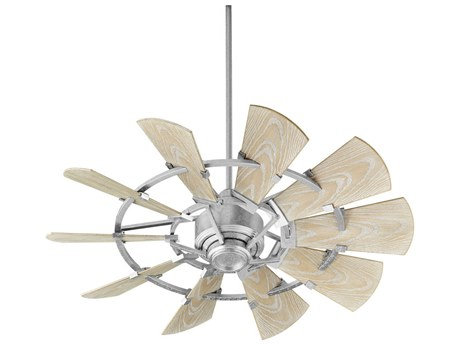 Quorum International Windmill Galvanized 44'' Wide Outdoor Ceiling Fan with Weathered Oak Blades
