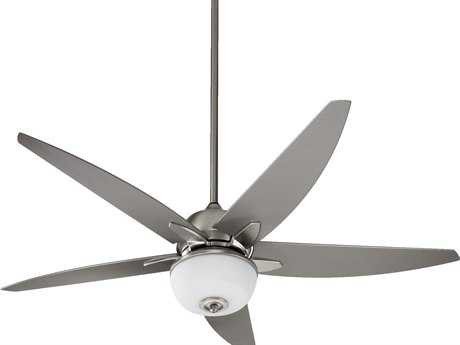 Quorum International Rockwell Satin Nickel 52 Inch Outdoor Ceiling Fan with Light