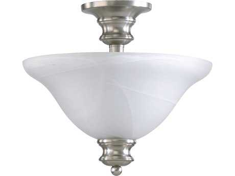 Quorum International Madison Satin Nickel Three-Lights Semi-Flush Mount Light