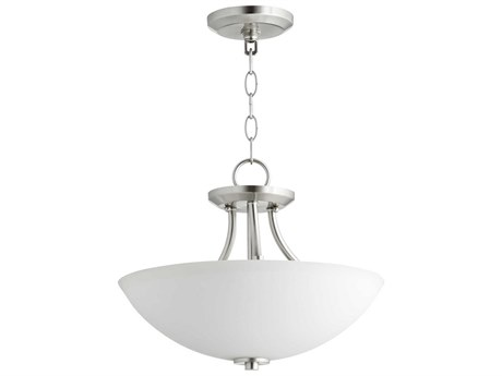 Quorum International Barkley Satin Nickel with Satin Opal Glass Three-Light 15'' Wide Convertible Pendant / Semi-Flush Mount Light QM27691565