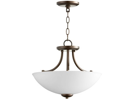 Quorum International Barkley Oiled Bronze with Satin Opal Glass Three-Light 15'' Wide Convertible Pendant / Semi-Flush Mount Light QM27691586