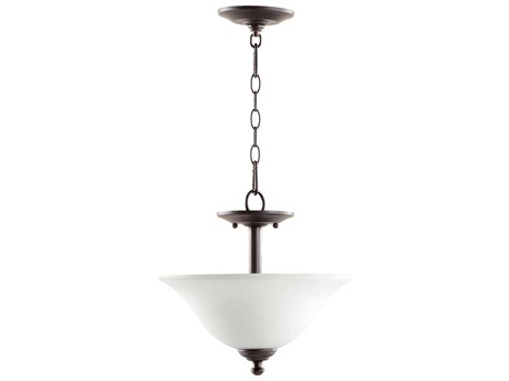 Quorum International Spencer Oiled Bronze With Satin Opal Two-Light Semi-Flush Mount Light QM281013186