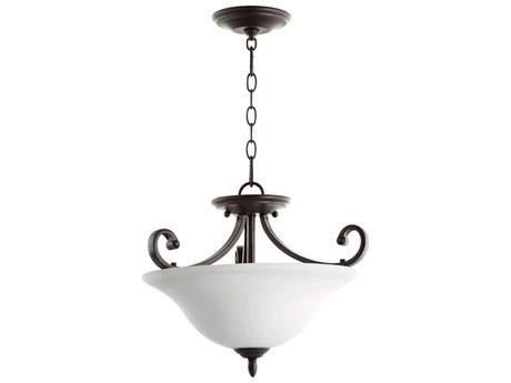Quorum International Bryant Oiled Bronze With Satin Opal Three-Light Pendant Light