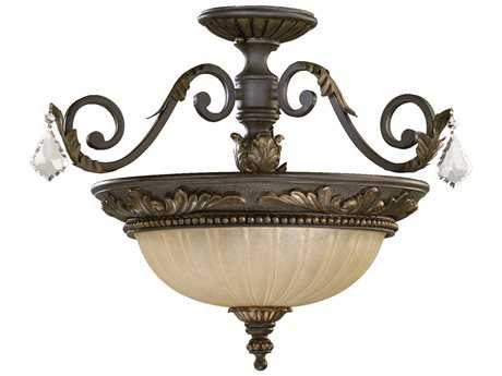Quorum International Rio Salado Toasted Sienna with Mystic Silver Three-Lights Semi-Flush Mount Light