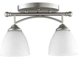 Quorum International Brooks Satin Nickel Two-Light 5.5'' Wide Semi-Flush Mount Light