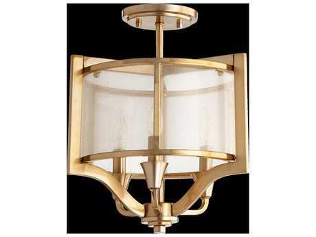 Quorum International Highline Aged Brass Three-Light Semi-Flush Mount Light