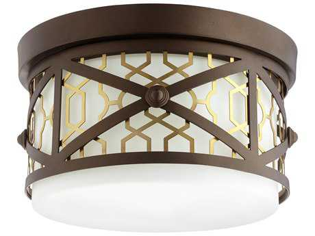 Quorum International Renzo Aged Brass & Oiled Bronze with White Two-Light 12'' Wide Flush Mount Light