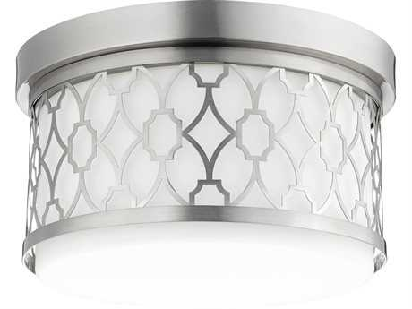 Quorum International Geometric Satin Nickel Two-Light 12'' Wide Flush Mount Light