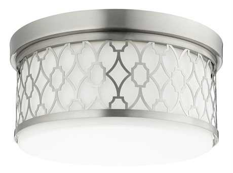 Quorum International Geometric Satin Nickel Three-Light 14'' Wide Flush Mount Light