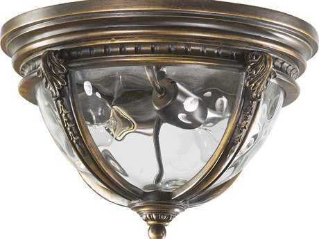Quorum International Pemberton Bronze Patina Two-Lights Outdoor Flush Mount Light