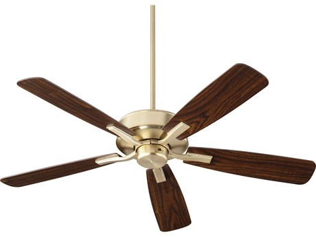 Quorum International Villa Aged Brass 52'' Wide Indoor Ceiling Fan with Dark Oak / Walnut Blades