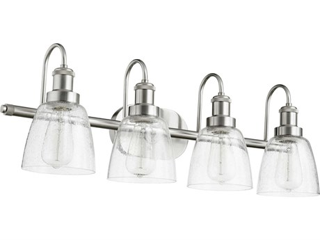 Quorum International Satin Nickel with Clear Seeded Glass Four-Light 30'' Wide Vanity Light
