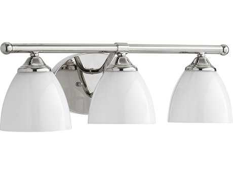 Quorum International Brooks Polished Nickel with Opal Three-Light Vanity Light