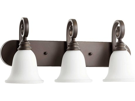 Quorum International Bryant Oiled Bronze With Satin Opal Three-Light Vanity Light