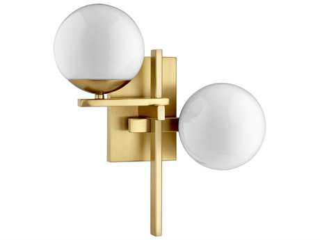 Quorum International Atom Aged Brass with Opal Two-Light Wall Sconce