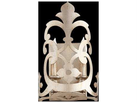 Quorum International Charlton Aged Silver Leaf Two-Light Wall Sconce