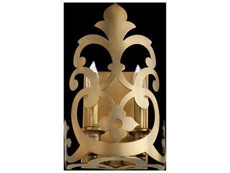 Quorum International Charlton Aged Brass Two-Light Wall Sconce