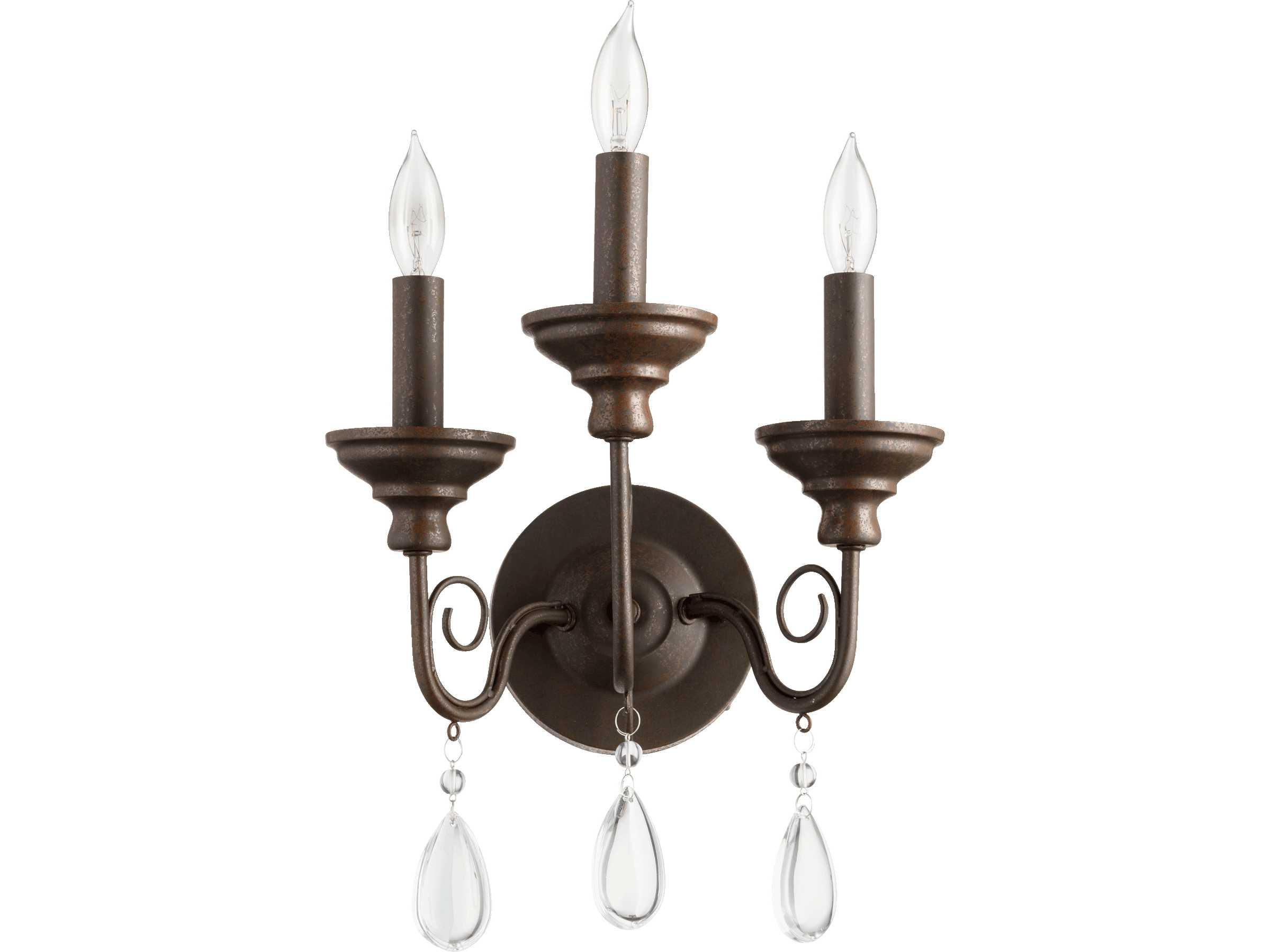 Quorum international vesta oiled bronze three lights wall for International decor wall lights
