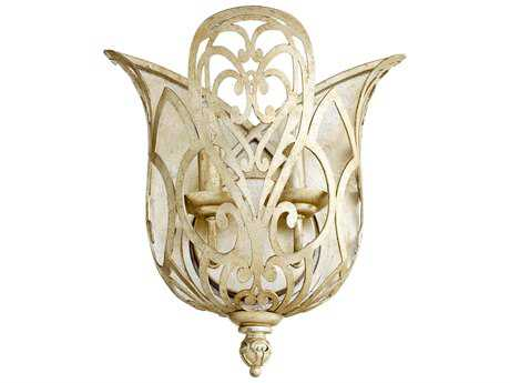 Quorum International Le Monde Aged Silver Leaf Two-Light Wall Sconce
