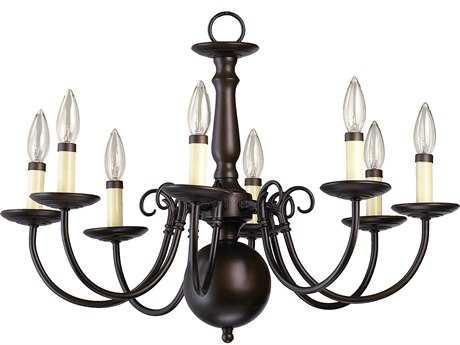 Quorum International Oiled Bronze Eight-Light 23'' Wide s Mini Chandelier