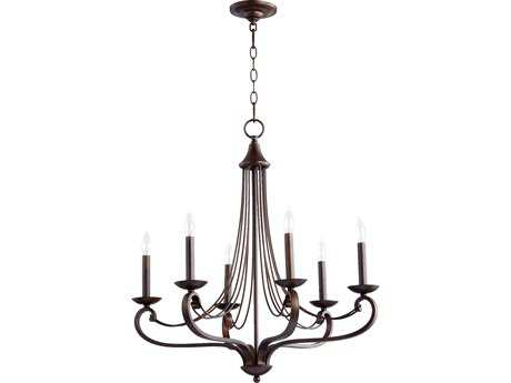 Quorum International Lariat Oiled Bronze Six-Light 27'' Wide Chandelier