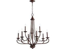 Quorum International Lariat Oiled Bronze Nine-Light 30'' Wide Chandelier