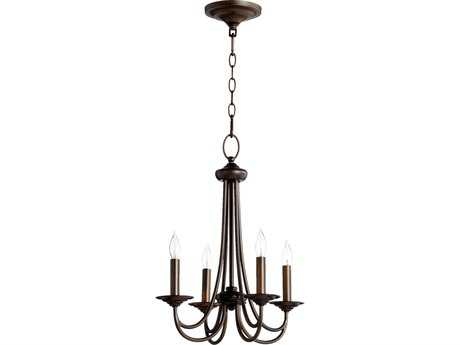 Quorum International Brooks Oiled Bronze Four-Light 17'' Wide s Mini Chandelier