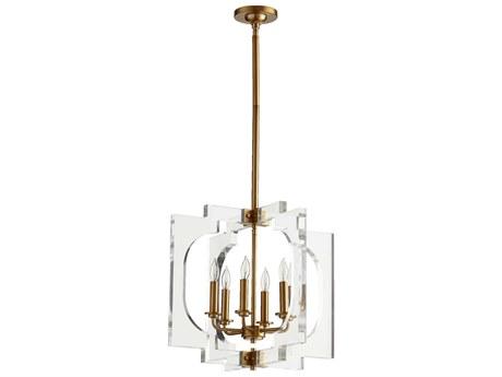 Quorum International Broadway Aged Brass Six-Light Pendant Light QM605680