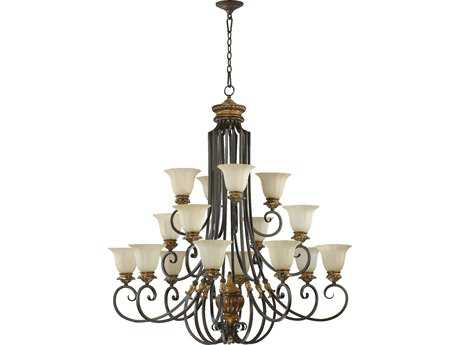 Quorum International Capella Toasted Sienna with Golden Fawn 16-Light 46'' Wide Chandelier