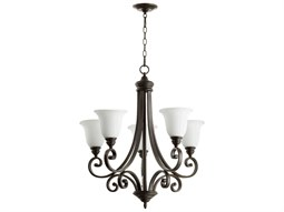 Quorum International Bryant Oiled Bronze With Satin Opal Five-Light 28'' Wide Standard Chandelier