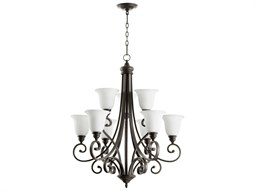 Quorum International Bryant Oiled Bronze With Satin Opal Nine-Light 31'' Wide Standard Chandelier