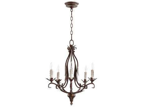 Quorum International Flora Vintage Copper with White Linen Glass Five-Light 20'' Wide Mini Chandelier