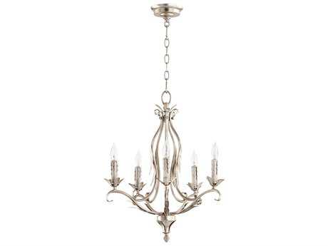 Quorum International Flora Aged Silver Leaf with White Linen Glass Five-Light 20'' Wide Mini Chandelier