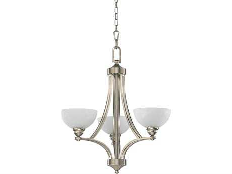 Quorum International Satin Nickel Three-Light 24'' Wide Chandelier