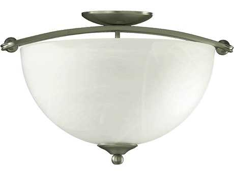 Quorum International Hemisphere Satin Nickel Three-Lights Semi-Flush Mount Light