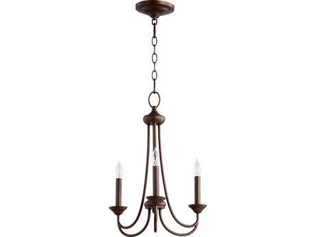 Quorum International Brooks Oiled Bronze Three-Light 16'' Wide s Mini Chandelier