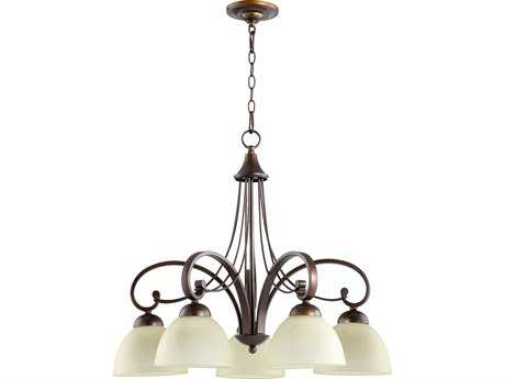 Quorum International Lariat Oiled Bronze Five-Light 27'' Wide Chandelier